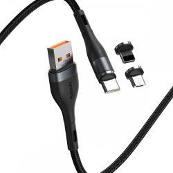 Baseus Fast 4in1 USB - USB-C + micro + Lightning Kábel - 1m 3A - Fekete-Szürke