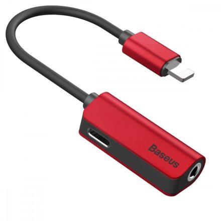 Baseus L32 Audio Adapter - Lightning -> 3,5 mm Jack + Lightning - Piros