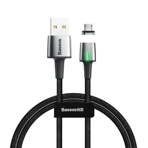 Baseus Zinc Mágneses USB - Micro USB Kábel - 1m 2,4A - Fekete