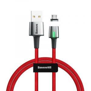 Baseus Zinc Mágneses USB - Micro USB Kábel - 1m 2,4A - Piros