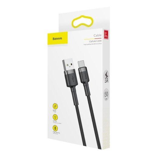 Baseus Cafule USB - USB-C Kábel - 1m 3A - Fekete-Szürke