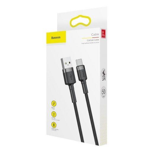 Baseus Cafule USB - USB-C Kábel - 3m 2A - Fekete-Szürke