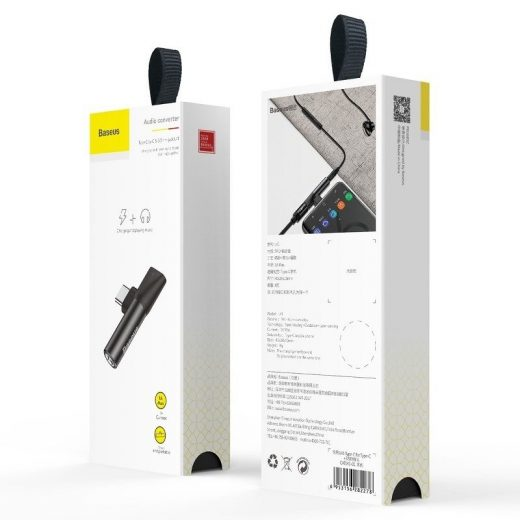 Baseus L41 Audio Adapter - USB-C -> 3,5 mm Jack + USB-C - Fekete