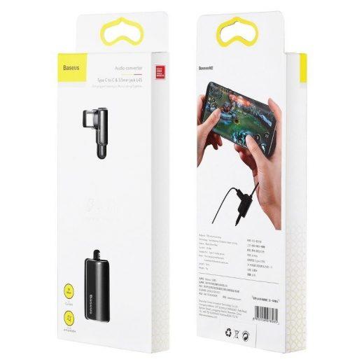 Baseus L45 Audio Adapter - USB-C -> 3,5 mm Jack + USB-C - Fekete