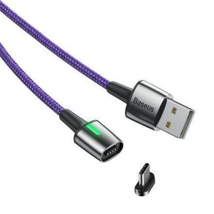 Baseus Zinc Mágneses USB - USB-C Kábel - 2m 2A - Lila