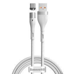 Baseus Zinc Mágneses USB - USB-C Kábel - 1m 3A - Fehér