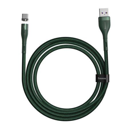 Baseus Zinc Mágneses USB - USB-C Kábel - 1m 5A - Zöld