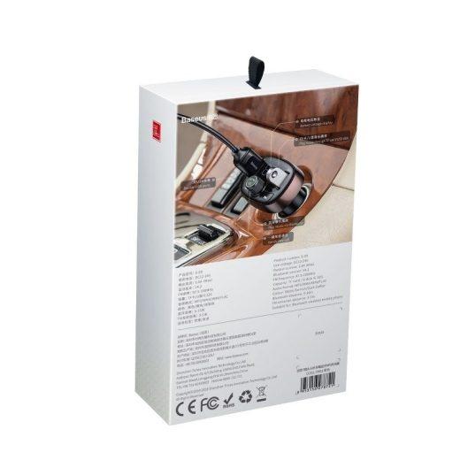 Baseus FM Transzmitter és Töltő - T típusú - 2xUSB - microSD