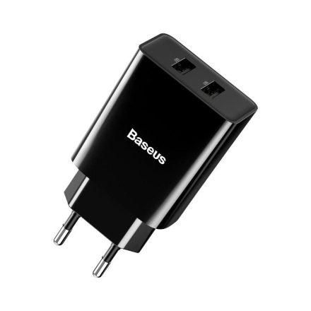 Baseus Speed Mini Dual Hálózati Töltő - 2xUSB - 10,5W - Fekete