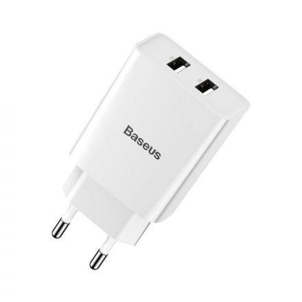 Baseus Speed Mini Dual Hálózati Töltő - 2xUSB - 10,5W - Fehér