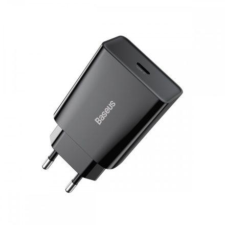 Baseus Speed Mini Hálózati Gyorstöltő - 1xUSB-C - 20W QC3.0 - Fekete