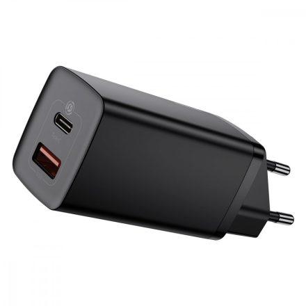 Baseus GaN2 Lite Hálózati Gyorstöltő - USB + USB-C - 65W - Fekete