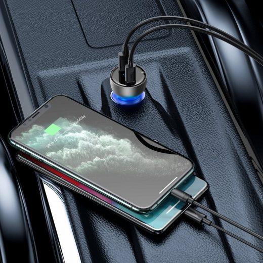 Baseus Autós Gyorstöltő Particular Digital Display QC+PPS  - USB + USB-C - 65W