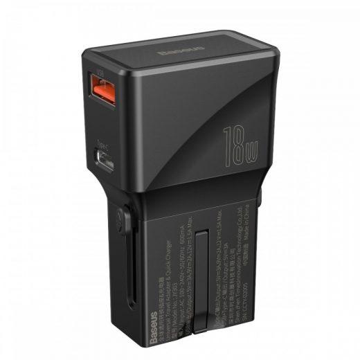 Baseus Hálózati Töltő Univerzális - USB + USB-C - QC3.0 PD - 18W - EU/US/UK/AU