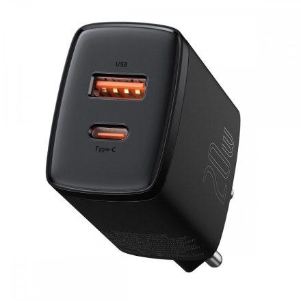 Baseus Compact Hálózati Gyorstöltő - 1xUSB + 1xUSB-C - 20W - Fekete
