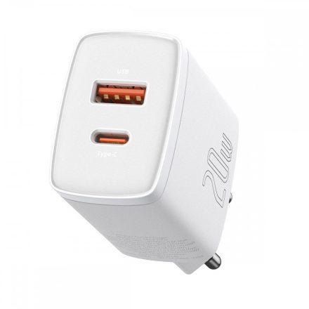 Baseus Compact Hálózati Gyorstöltő - 1xUSB + 1xUSB-C - 20W - Fehér
