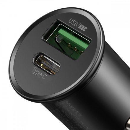 Baseus Autós Töltő Circular Metal PPS - USB + USB-C - 30W