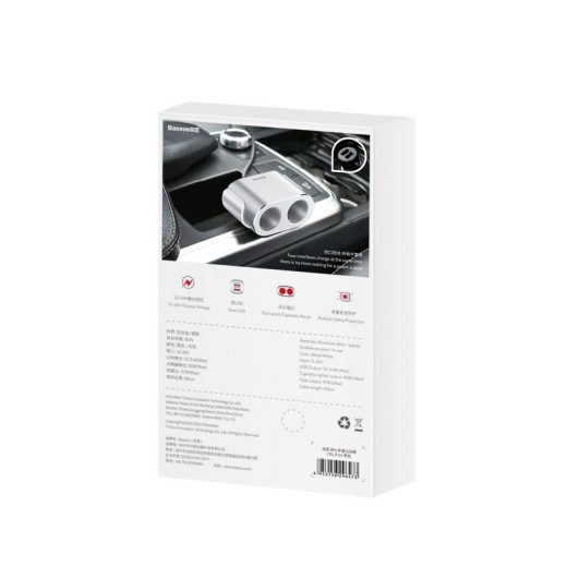 Baseus Autós Töltő + Szivargyújtó Elosztó - 2xUSB - 3,1A - 100W - Ezüst