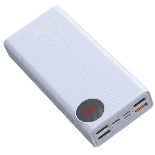 Baseus Mulight Powerbank 30000 mAh - 4x USB, QC 3.0, PD - Fehér