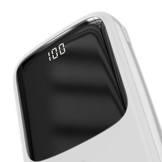 Baseus Qpow Digital Display PowerBank 10000 mAh -  2x USB, 1x USB-C + iP kábel - Fehér