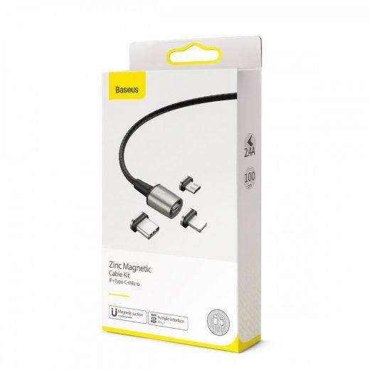 Baseus Zinc Mágneses Kábel Készlet USB - USB-C + micro + Lightning - 1m 2,4/3A - Fekete