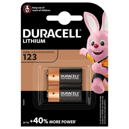Duracell CR123 3V Lítium Fotó Elem, 2 db
