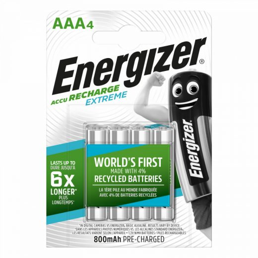 Energizer Extreme AAA Mikro NiMH akkumulátor 800 mAh, 4 db
