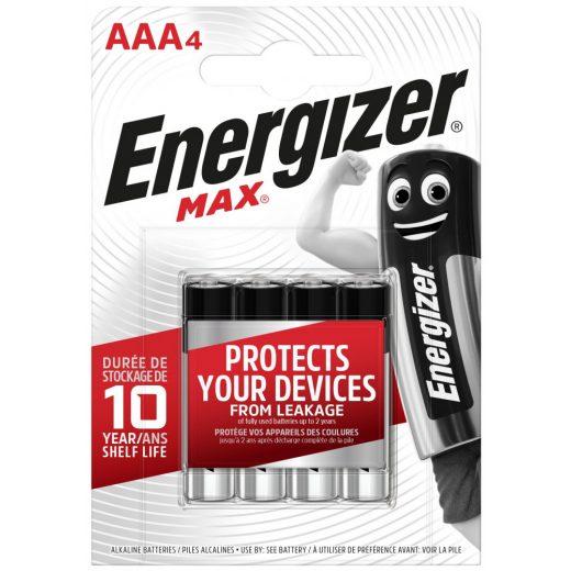 Energizer Max Alkáli AAA LR03 Mikro Elem, 4 db