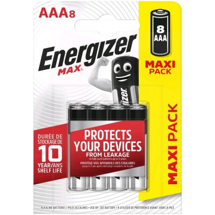 Energizer Max Alkáli AAA LR03 Mikro Elem x 8 db