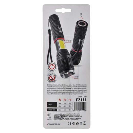 Emos LED Lámpa 5W LED + 3W COB - 230 lm - Fókusz - 3x AAA