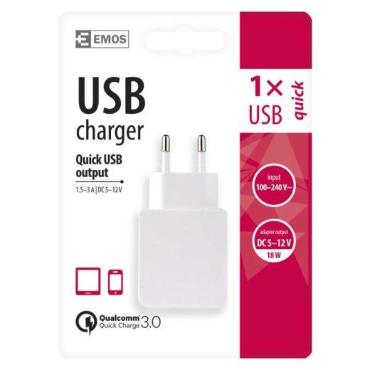 Emos Univerzális USB töltő Qualcomm QC 3.0