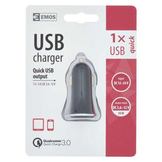 Emos Autós Gyorstöltő USB Qualcomm QC 3.0
