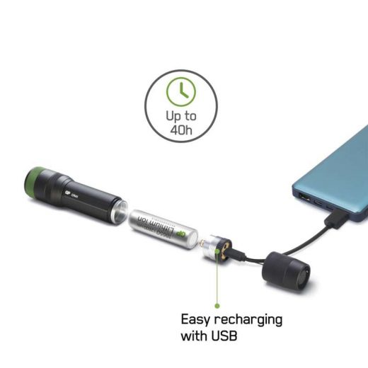 GP CR41 Elemlámpa - 650 lm - USB - Akkuval