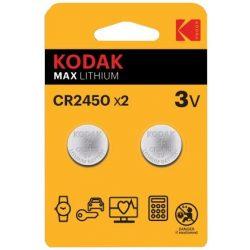 Kodak CR2450 3V Lítium Gombelem, 2 db