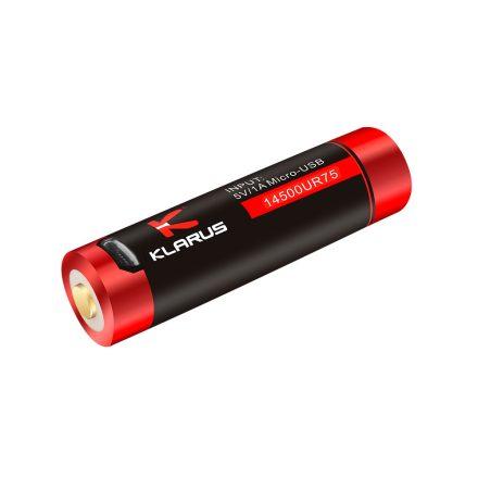 Klarus 14500 UR75 3,7V 750 mAh védett Li-Ion USB-s akkumulátor