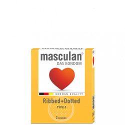 Masculan Ribbed+Dotted Gumióvszer - 3 db
