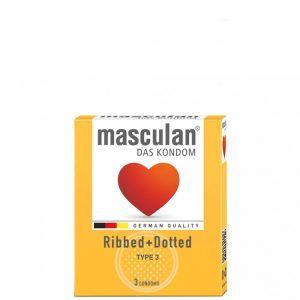 Masculan Ribbed+Dotted Gumióvszer x 3 db