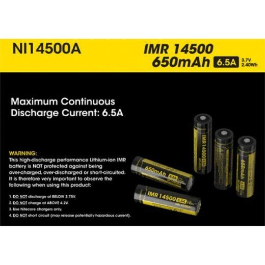 Nitecore IMR 14500 3,7V 650 mAh Akkumulátor