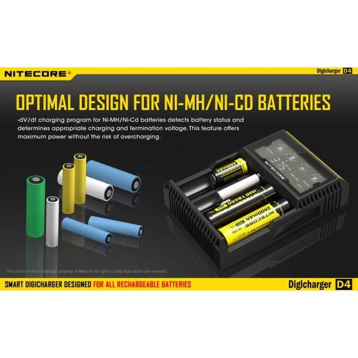 Nitecore D4 Li-Ion / Ni-MH Akkumulátor Töltő