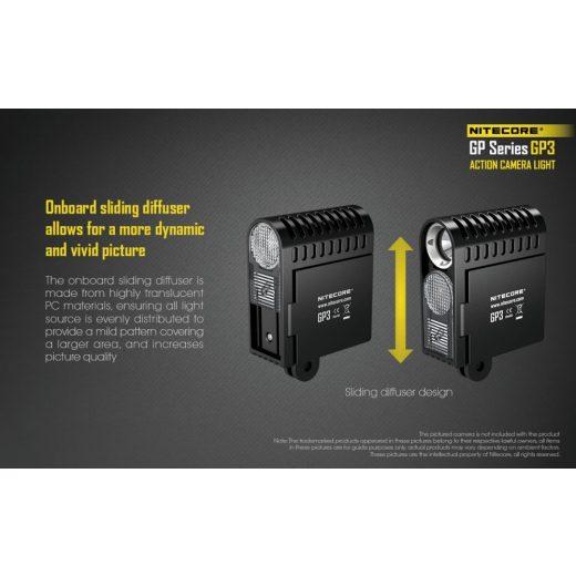 Nitecore GP3 Kamera Lámpa - 360 lm - USB - Akkuval