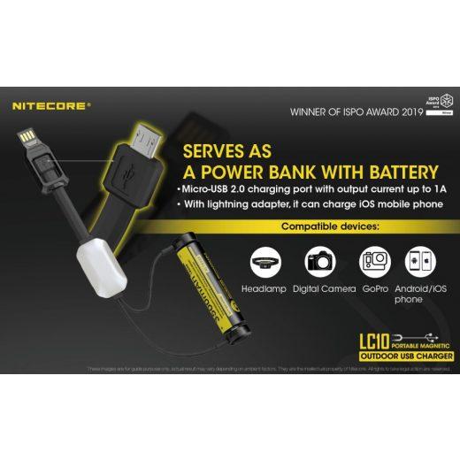 Nitecore LC10 Mágneses USB Akkumulátor Töltő + Powerbank