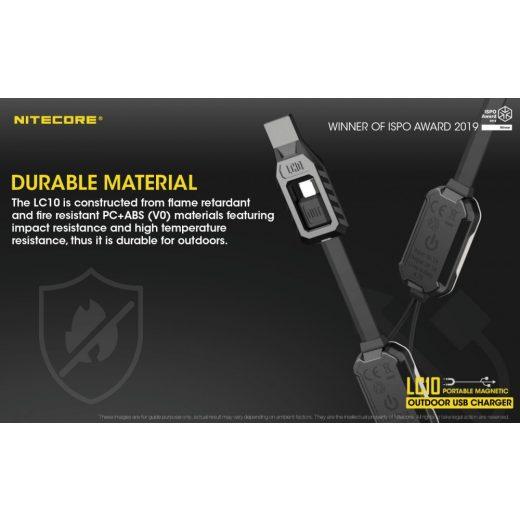 Nitecore LC10 Mágneses USB Li-Ion Akkumulátor Töltő + Powerbank