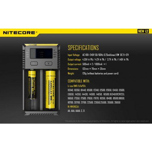 Nitecore NEW I2 Li-Ion / Ni-MH Akkumulátor Töltő