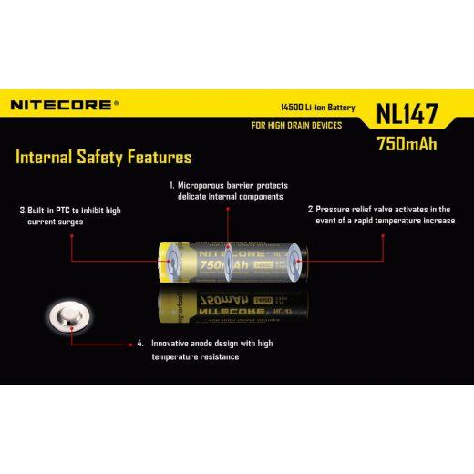 Nitecore 14500 3,7V 750 mAh védett Li-Ion akkumulátor