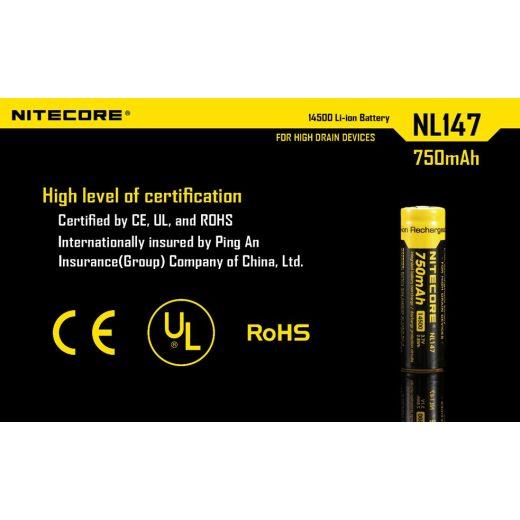 Nitecore 14500 3,7V 750 mAh védett akkumulátor