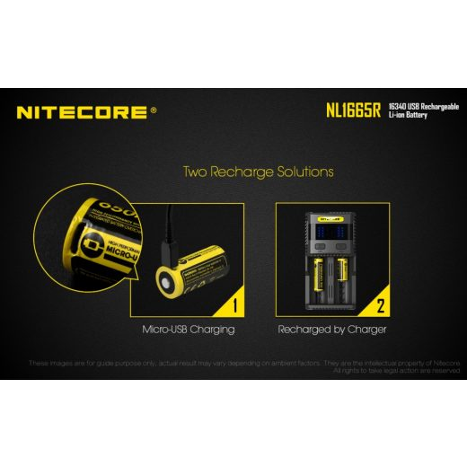 Nitecore NL1665R 16340 3,6V 650 mAh USB-s akkumulátor