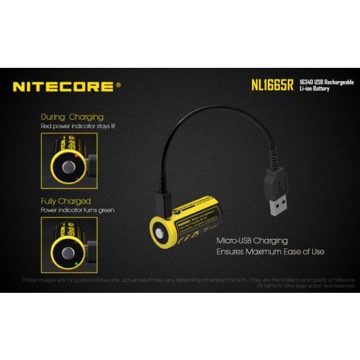 Nitecore 16340 NL1665R 3,6V 650 mAh USB-s akkumulátor