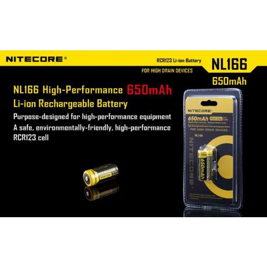 Nitecore 16340 3,7V 650 mAh védett akkumulátor