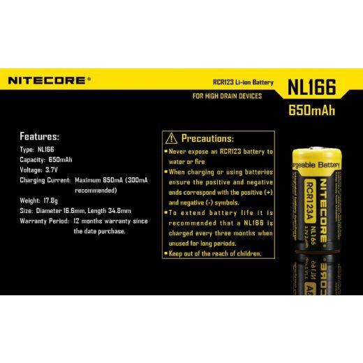 Nitecore 16340 NL166 3,7V 650 mAh védett Li-Ion akkumulátor