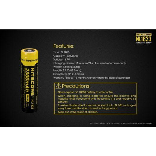 Nitecore 18650 3,7V 2300 mAh védett akkumulátor